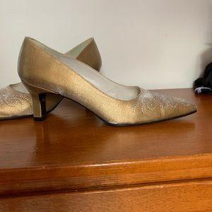 Gold silk Stuart Weitzman heels